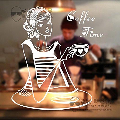 mlpnko Milk Tea Coffee Shop Girl Cafe Ice Cream Bread Cake Kitchen Wall Art Extraíble Sticker Decal Mural Decoración 50x55cm
