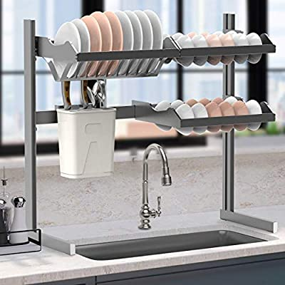 Dish Rack Over Sink, 2-Tier Carbon Steel Dish Drying Rack Kitchen Organizer Over The Sink Shelf Storage Rack with Utensil Holder Hooks for Kitchen Counter Medium by