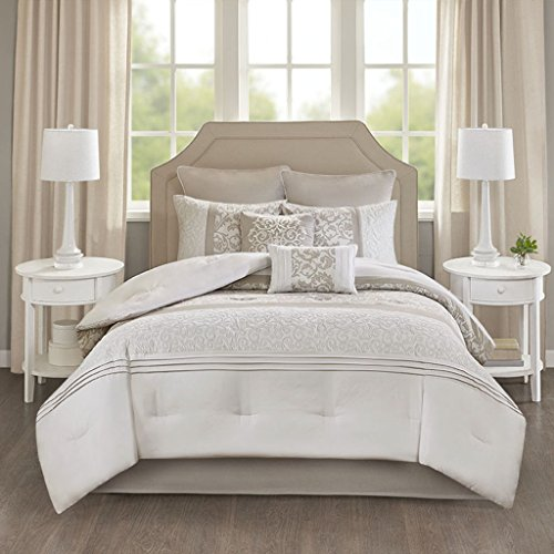 8pc King Casey Embroidered Comforter Set Neutral