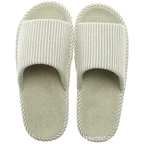 ZXQYLFLY Zapatillas para niños, zapatillas de lino piso antideslizante eyebirds-Green cotton_40-42