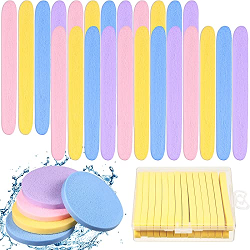 112 Pieces Compressed Facial Sponge Makeup Removal Wash Pads Exfoliating Wash Round Face Sponge with 4 Pieces Transparent Packing Boxes for Women Girls, 4 Colors