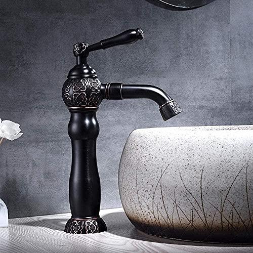 Grifo de baño negro pintura vieja instalada baño grifo latón baño grifo mezclador grúa sola tubería grifos para baño