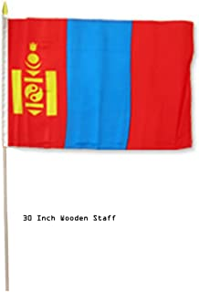 ALBATROS 12 in x 18 in (Pack of 3) Mongolia Country Stick Flag 30in with Wood Staff for Home and Parades, Official Party, All Weather Indoors Outdoors