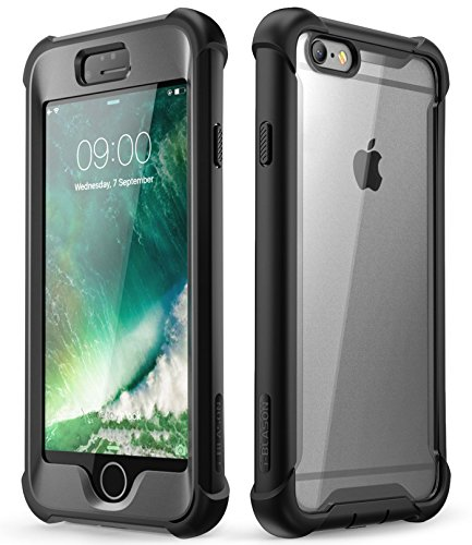 """i-Blason Ares Clear Case for iPhone 6s Plus/ 6 Plus Case, [Built-in Screen Protector] Full-Body Rugged Clear Bumper Case, Black, 5.5"""""""
