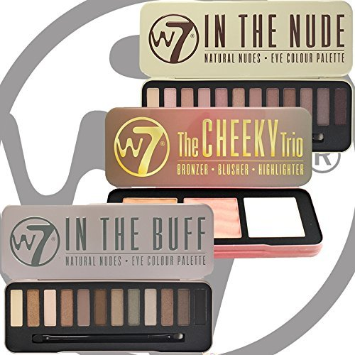 W7 In The Buff Natural Nudes, In The Nude Eye Shadow Palette & Cheeky Trio Set by W7