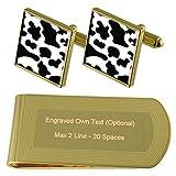 Select Gifts Piel de Vaca Imprimir Tono Oro Gemelos Money Clip Grabado Set de Regalo