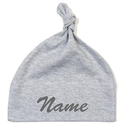 Schnoschi Babymütze in grau mit Namen hochwertig Bestickt/gestickt