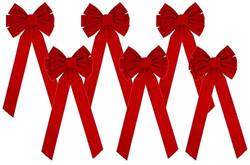 Iconikal 10-Loop Red Velvet Bows 11.5 x 26-Inch, 6-Pack