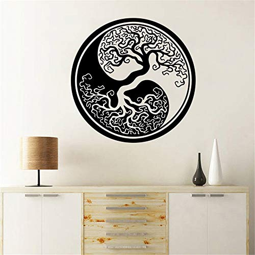 stickers muraux enfants toise Tree Of Life Wall Stickers Tree Of Life Yin Yang Classic Round