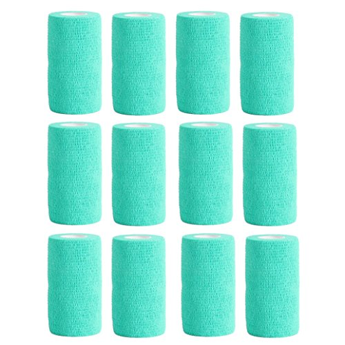 Haftbandage–12Rollen x 10cm x 4,5m, Erste Hilfe, Sport, Bandagen, COBOX Tierarztverband selbstklebende Bandagen, blaugrün