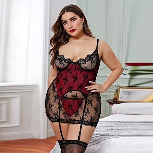 Preisvergleich Produktbild Erotiek unterwäsche für Frauen,  Die Neue Hohle sexy Unterwäsche mit Spitzenstich,  red-XXXL,  Set Erotik Lingerie