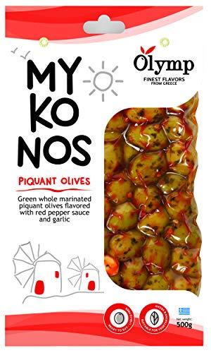 Griechische Oliven mariniert mit würzigem Pfeffer und Knoblauch von Olymp | Mykonos natürliche grüne ganze Oliven (500)