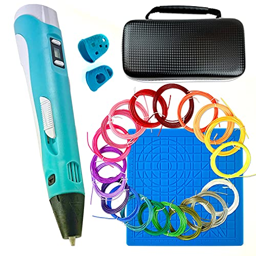 3D-Druckstift-Set, intelligente 3D-Stifte mit PLA-Fasern in 20 Farben, Silikonmatte, Zeichenvorlage & Handtasche, DIY-Bastelset, 3D-Doodler, Geschenk zum Zeichnen für Anfänger, Erwachsene & Kinder