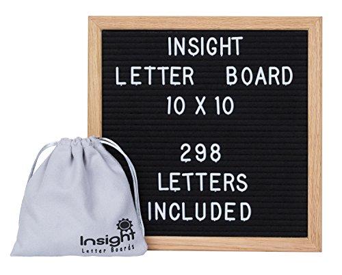 Retro Vintage 10 x 10 Oak Framed Felt Letter Board - 298 Characters (3/4