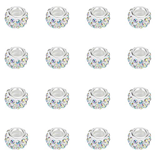NBEADS 100PCS Polymer Clay Strass European Beads mit großen Loch fit Charms Armband, 11- 12mm im Durchmesser, 7- 7,5mm dick, Loch: 5mm, Crystal AB