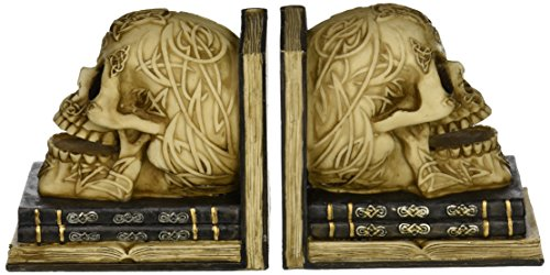 bombayjewel Skull Decor Pair of Skull Bookends with Depicting Celtic Knot Design - Book Ends OMG!