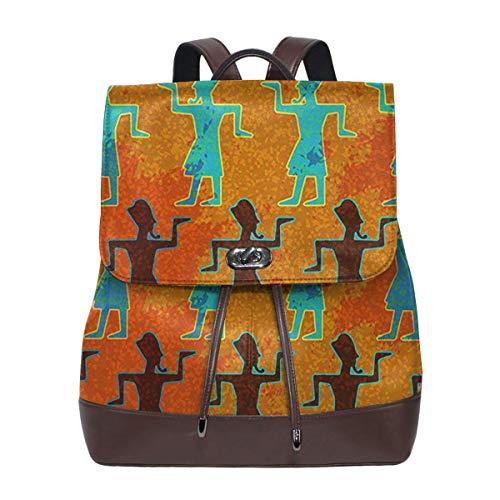 Rucksack Damen Gehen Sie wie ein ägyptischer Pharao, Leder Rucksack Damen 13 Inch Laptop Rucksack Frauen Leder Schultasche Casual Daypack Schulrucksäcke Tasche Schulranzen