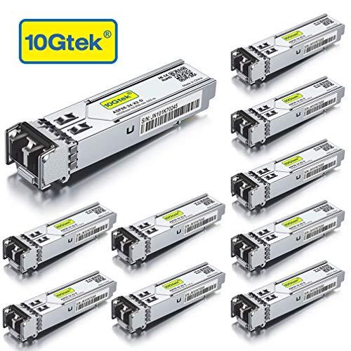 10Gtek [10 Stück] Gigabit SFP SX Multimode Modul, 1000Base-SX SFP LC Transceiver, Kompatibel für Cisco GLC-SX-MMD, Ubiquiti, Netgear, D-Link, TP-Link, Zyxel, Mikrotik, Open Switch, MEHRWEG