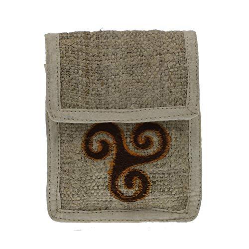 KUNST UND MAGIE Mittelalterliche Gürteltasche aus Hanf mit Keltischer Triskele, Farbe:natur/braun