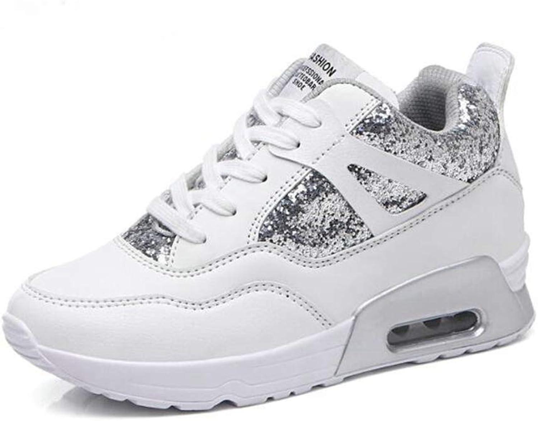 ASO-SLING Womens Platform Wedge Sneaker Casual Leather Hidden Heel Air Cushion Damping Fitness Walking shoes