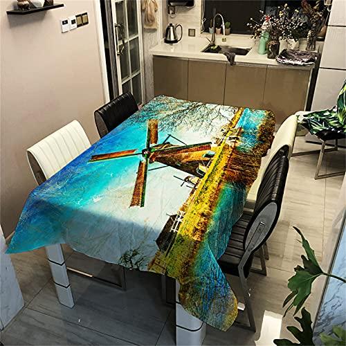 Country Style Paesaggio Mappa Stampa Poliestere Impermeabile Tovaglia Rettangolare Ristorante Tavolino Quadrato Tovaglia Cucina Antivegetativa Tovaglia Outdoor Picnic Campeggio 90x90cm