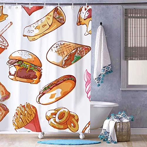Junk Food Pizza Hamburger Chips French Fries Duschvorhang – geruchloses Dekor Badezimmer Liner – Stoff Badvorhang für Badezimmer Dusche Stall Badewannen wasserdichter Vorhang Liner 183 x 183 cm
