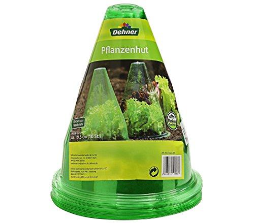 Dehner Pflanzenhut, zum Schutz vor Sonne, Frost, Schnecken etc., 10 Stück, Ø 19.5 cm, Kunststoff, grün