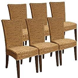 Casamia Lot de 6 chaises en rotin naturel pour salle à manger ou jardin d'hiver Cardine Marron Cabana Sans coussin