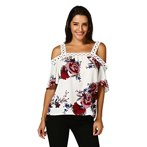 LEvifun Vrouwen Plus Size Off Schouder T-Shirt Lady Chiffon Bloemen Print Korte Mouw Casual Tuniek Tops Blouse