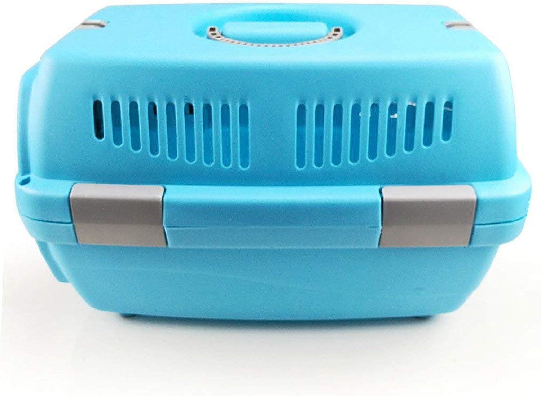 CHONGWFS Portable Pet Air Box Pet Suitcase Fashion Pet Multicolor Multipurpose Pet Box Outdoor Car Pet Box (color   bluee)