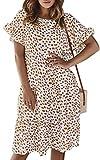 ECOWISH Women's Polka Dot Dress Ruffle Sleeves Boho Pleated Swing Blouse Dresses White X-Large