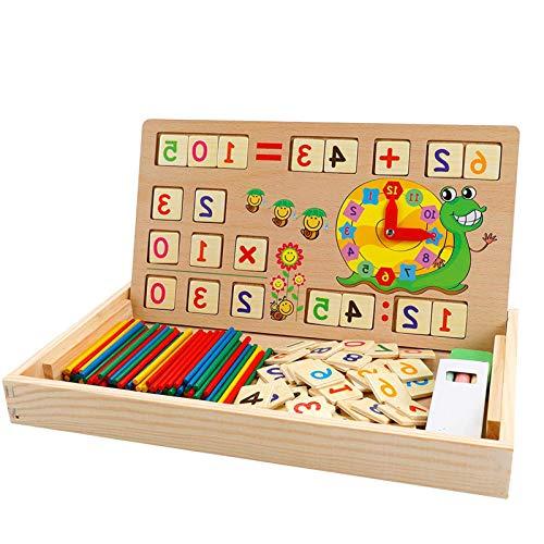 Baby Montessori Toy Math Juguete de Madera Caja de Aprendizaje números Juego Educativo con Dibujo Tablero de Madera Juguetes educativos para niños de 3 4 5 años