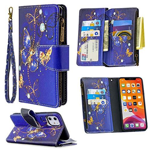 """Nadoli Reißverschluss Brieftasche Etui für iPhone 11 Pro 5.8"""",Bunt 9 Karte Halter Pu Leder Blau Schmetterling Entwurf Lanyard Magnetisch Standfunktion Flip Schutzhülle"""