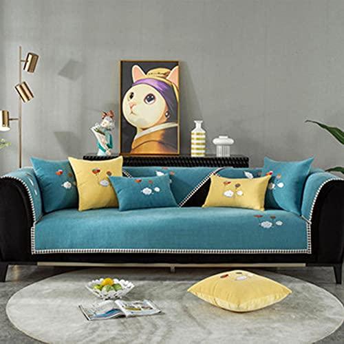 Fundas Sofa Chaise Longue Cubre Sofa Acolchado Fundas para Sofa sin Antideslizante Bordado Simple Moderno, -110x110cm (43x43 Pulgadas)_Azul-Vendido en Pedazos