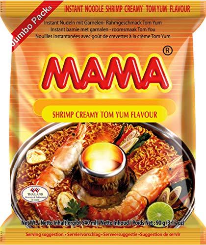 MAMA Instantnudeln Tom Yum mit Shrimpsgeschmack – Cremige Instantnudelsuppe orientalischer Art – Authentisch thailändisch kochen – Im Bigpack – 30 x 90 g