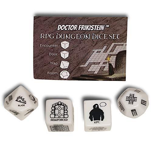 RPG Dungeon Dice Set | 4 Dados de 25mm para creación de Mazmorras | Compatible con D&D, Pathfinder y Juegos de rol de fantasía