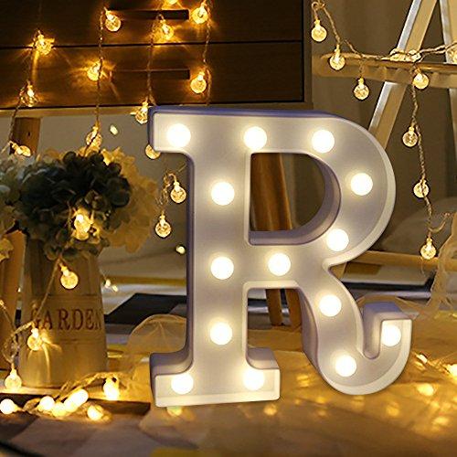 sunnymi Alphabet LED Brief Lichter leuchten weiße Kunststoff Buchstaben Stehen Hängen A bis Z & Wortkombination Home Garten Hotel Geschäft Dekor (R, 22 * 18cm*4.5cm)