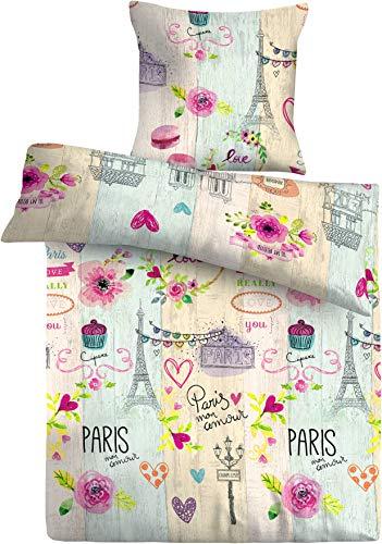 FAKTOR - 2 Ropa de cama 135 x 200 algodón, 80 x 80 cm, funda de almohada de la Torre Eiffel, motivos franceses, 2 piezas, transpirable y elegante, Premium
