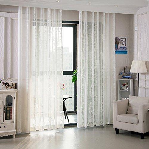 Met Love Haute qualité Jacquard Fenêtre Rideaux Rideaux Couleur Pure Fini Balcon Épaissir Abat-Jour Fil Chambre Baie Fenêtre 2 Panneaux (taille : L:2.5*H:2.7m)
