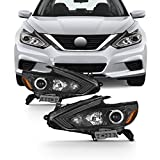 For 2016 2017 2018 Altima Projector Headlight Black Housing Clear Lens Full Set Driver + Passenger Pair