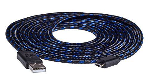 snakebyte PS4 Micro USB  CHARGE:CABLE - 4m Mesh Cable - Ladekabel für Dualshock 4 Controller - PlayStation 4 & Xbox One kompatibel
