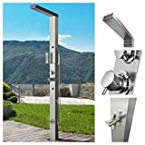 RENO 316 Marine Grade Brushed Stainless Steel Massage Outdoor Shower Panel Swimming Pool Backyard Bathroom Hot & Cold Rainfall Hand Held Wall Mounted or Free Standing Outside Shower