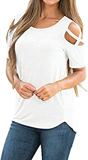 ZGMCGD Womens Summer Round Neck Cold Shoulder Tees Slim Tunic Tops Casual Short Sleeve Strappy TZGMCGD Shirt Blouse