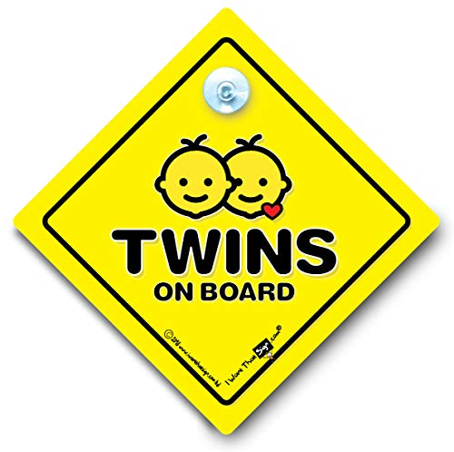Twins On Board Autoschild, Baby on Board-Schild, Saugnapf, Autofenster-Schild, Zwillings-Aufkleber, Stoßstangen-Aufkleber