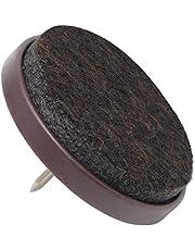 Adsamm FP-N-BR-35-4 FP-N-BR-35 4 x viltdoppen met spijker, bruin, Ø 35 mm
