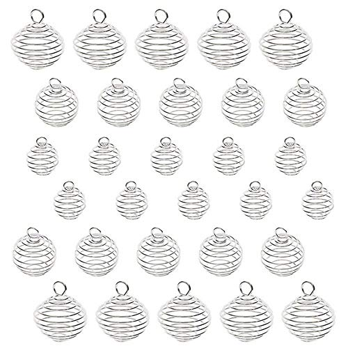 Spiral Bead Cages Pendants, 30pcs Silver Plated Spiral Crystal Stone Holder Cages Pendant for Jewelry Making and Crafting