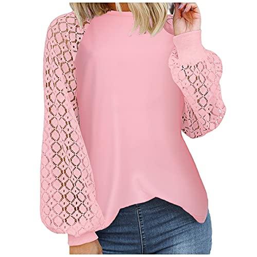 Frauen Herbst Shirt Langarm Spitze Top Einfarbig Rundhalsausschnitt Hohl Spitze Aushöhlen Tunika Tops Winter Lose Pullover (Pink-07, L)
