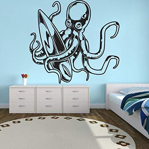 Etiqueta de la pared de dibujos animados pulpo vinilo calcomanía decoración de la habitación de los niños surf decoración del hogar tabla de surf deportes acuáticos etiqueta de la pared 56x52cm