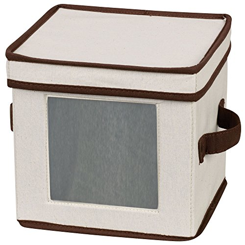 Household Essentials 534 Dinnerware Storage Box with Lid and Handles   Chest for Salad Plates   Natural Canvas with Brown Trim
