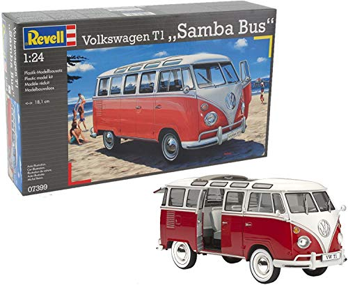 Revell Revell_07399 Modellbausatz Auto 1:24 - Volkswagen VW T1 Bulli Samba Bus im Maßstab 1:24, Level 5, originalgetreue Nachbildung mit vielen Details, VW Bus, 07399